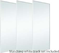Classic White Frame Mirror Door & Track Set To Suit An Opening Of 2235MM